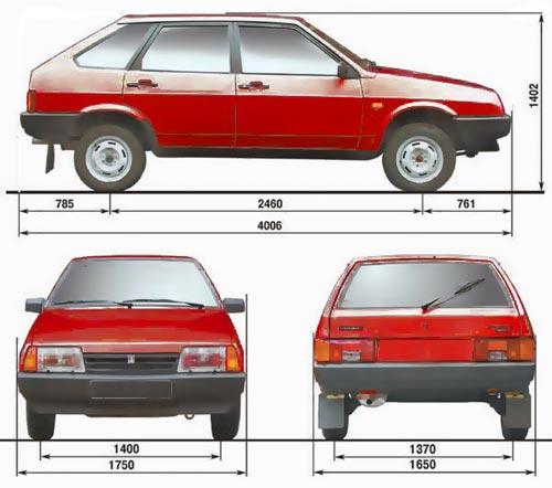 Габаритные размеры ВАЗ-2109